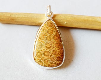 """Fossil Coral Pendant 10.0 Gm Natural Gemstone Silver Pendant Fossil Coral 925 Solid Silver Pendant Pear Shape  1.8""""x0.9"""" Inch RJ131"""