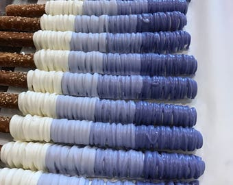 Blue Ombre Chocolate Covered Pretzel Rods | Shades of Blue Pretzel Rod