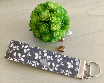 Floral Wristlet Keychain, Gray Keychain, Wristlet, Wristlet Key Fob, Wristlet Keychain, Key Chain, Wristlet Key Chain, Gift for Her