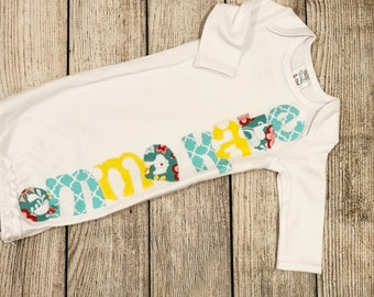 Newborn gown girl// coming home outfit girl// girl name gown// newborn girl outfit