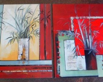 Set of 2 bamboo post cards. Polish art print on paper. 14 X 14 Cm