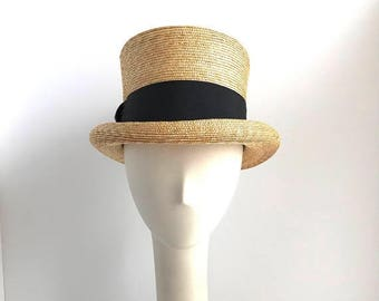 "SALE Straw Top Hat with Black 2"" Ribbon Standing 5"" tall"