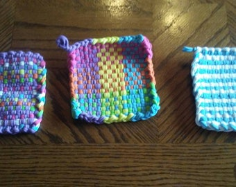 Handmade in America- Three Multi-Colored Hand Woven Potholders/Coasters