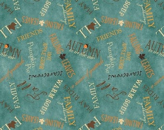 1 YD - Colors of Fall (words on teal) by Wilmington Prints