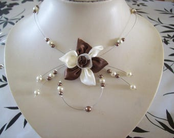 Necklace bridal wedding holiday party satin, Ivory Pearl flower / maid of honor ceremony chocolate brown