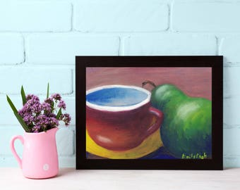Tea-Tea Painting - Tea Cup Painting - Dining Room Still Life - Dining Room Decor - Pear Painting - Pear Still Life - Original Oil Painting