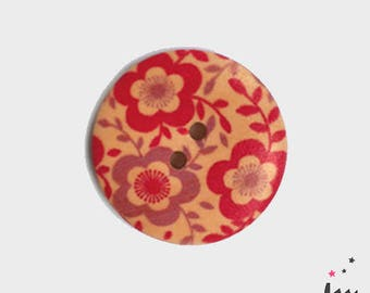 Wood button printed red and pink flowers 3 cm