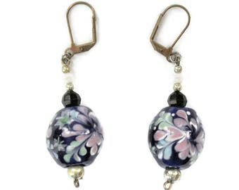 Long Cobalt Blue Glass Bead Earrings, With Pink Flower Design