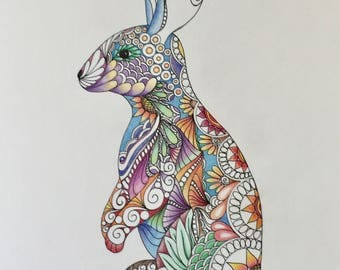 Zentangle rabbit, rabbit art,animal art,colored rabbit,zentangle art,wall art,wall decor,ink colored pencils