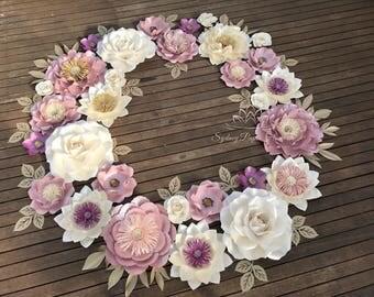 WREATH paper flower backdrop 1.5 m/Paper flower wall/Wedding Backdrop/Backdrop/Baby shower/Bridal shower/Sweet table/Christening /high tea