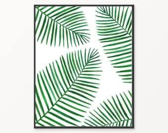 Leaf wall art, watercolor print, printable palm leaf, areca leaf, printable areca print, printable watercolor leaves, green wall art, palm