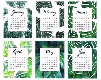 Printable calendar 2018, printable tropical calendar 2018, tropical calendar planner for 2018, tropical palm leaves wall art calendar 2018,