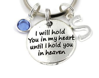 I Will Hold You In My Heart Until I Hold You In Heaven Key Ring, Personalized Memorial Keychain With Birthstone Or Pearl,Memory Gift Keyring