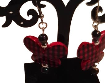 black and Red butterfly earrings