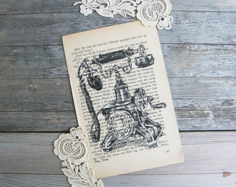 Dictionary Art, Antique Telephone Print, Country Bedroom Decor, Vintage Poster, Office Decor, Dictionary Print, Black and White Print