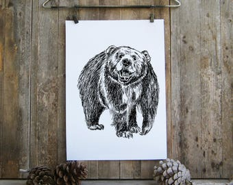 Mama Bear Printable, Bear Poster, Woodland Animals, Nature Art, Woodland, Black And White Sketch, Coloring Pages, Nature Art, Mothers day