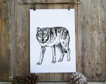 Wolf Printable Art, Black And White Wolf Poster, Wolf Art, Woodland Animals, Printable Cabin Decor, Rustic Decor, Gift Under 10, Wild Animal