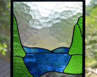 Mountain lake stained glass panel 10 x 8