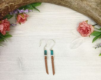 Turquoise Stone Earrings with Light Brown Leather >> Natural Stone Jewelry >> Southwestern >> Nature Jewelry >> Bohemian >> Gifts For Her