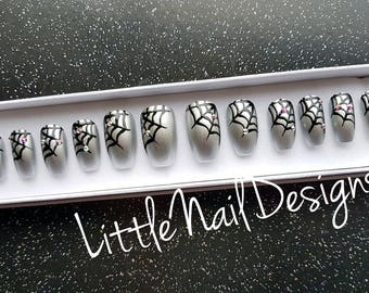 Spider Web | Halloween Hand painted False Nails | Swarovski Crystals | Little Nail Designs