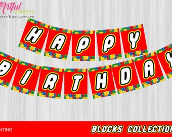 Instant Download Building Blocks Party Bunting Banner