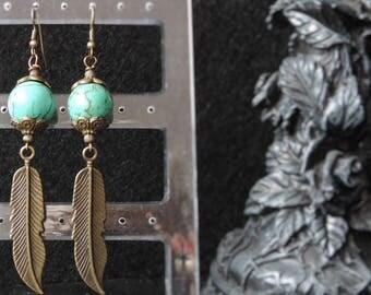 """Earrings """"Turquoise Feather - II"""""""