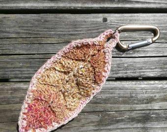Pink ecru feather crochet key chain
