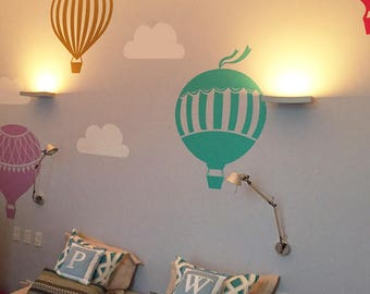 Air Balloons Wall Decal, Wall Decal Sticker, Hot Air Balloons Wall Sticker,  Air