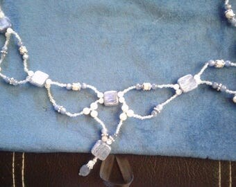 "22.5"" Kyanite, Moonstone and Natural White Pearl Beaded Necklace, #517"