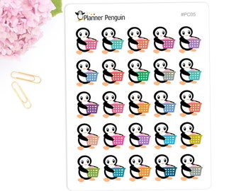 Laundry Penguin Stickers For Erin Condren Life Planner, EC Horizontal or any other Planner// #PC05