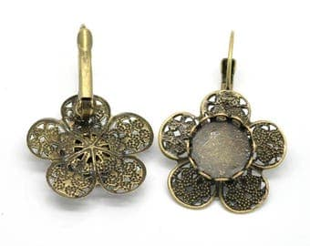 1 pair of earrings sleeper bronze support cabochon12mm