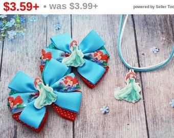 CHRISTMAS SALE Hair clip Ariel hair bows Llittle mermaid hair bows Ariel birthday gift Little mermaid birthday Little mermaid party Littl...