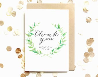 Thank you card, watercolour, wedding, typography