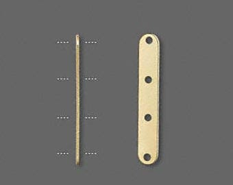 Gold Spacer Bar, 4 Hole Spacer, For 8mm Beads, 24x4mm, 20 Each, D1022