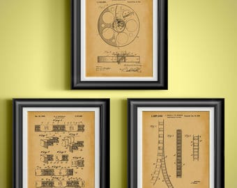 Home Theater Decor Home Theater Wall Art Home Theater Artwork Home Theater Poster Film Strip Patent of Movie Theater Ticket Set of 3 PP 9322