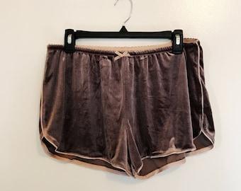Velvet Mauve Shorts. Velvet Pajama Shorts. Velvet Sleep Shorts. Size medium velvet shorts.