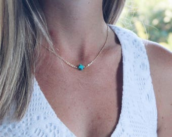 Turquoise Stone Cross 14K Gold Dipped 16 Inch Necklace