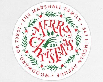 24 HOUR DIGTIAL FILE, Merry Christmas Return Address Labels, Holiday Return Address Labels, Christmas Return Address Labels, Printable
