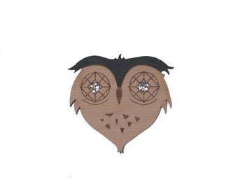 Brooch OWL BEW wood straw