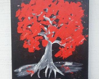 Abstract Painting - Red Tree Painting - Original Canvas Art - Graffiti Art - Acrylic Painting -  Small Painting - Australian Art