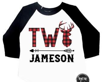 TWO Deer Antler Birthday Shirt - TWO -  Lumberjack Plaid - Deer Shirt - TWO - Lumberjack Shirt - Birthday Shirt - Plaid Deer Antlers