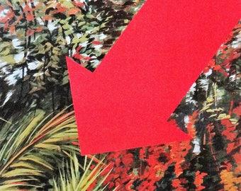 Sacha SOSNO, flèche rouge, photo-lithographie originale, symbole, Abstrait, vintage, Pointe, Direction,  Graphique, minimaliste,