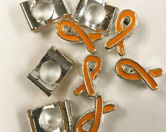 5 Orange Ribbon Awareness Beads, European Jewelry Beads, Big Hole Beads, 6625, 403a