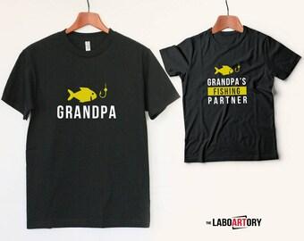 Grandpa and Grandpa's fishing partner! Matching Grandpa and Grandson T-shirts. Grandpa Tee. Grandpa Gift. Retirement Gift. Fishing Team
