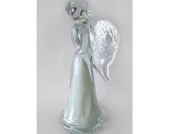 Blown Glass Angel, Fused Glass, Lamp Work Glass, Paperweight, Ornament, Gift Idea, Gift for Him, Sea Glass, Home Gift, Garden, Gift for Her