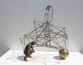 Brutalist Metal Structure Decorative Table Sculpture .