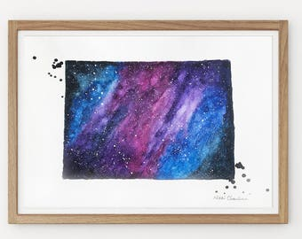 Colorado map, State map, Map gift, Watercolor Painting, Illustration Print, Galaxy art, Modern art, Holiday Gift, Long Distance, Art Print