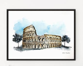 Colosseum Painting, Rome painting, Italy art, City art, Watercolor Poster, Travel art poster, Modern art, iIaly poster, Printable art, Rome