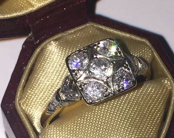 An Art-Deco Gold, Platinum & Diamond Ring set with 5 Old-European Cut Diamonds