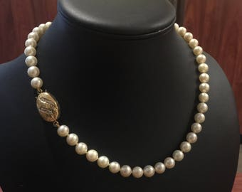 South Sea 9mm Pearl Necklace with Gold & Diamond Clasp